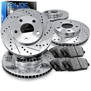 For 2014 Nissan Rogue Front Rear eLine Drill Slot Brake Rotors+Ceramic Brake Pad