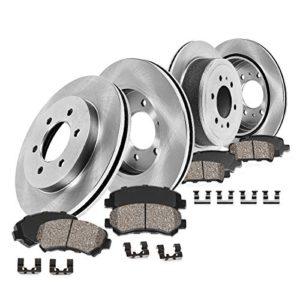 FRONT 350 mm + REAR 319.6 mm Premium OE 6 Lug [4] Rotors + [8] Quiet Low Dust Ceramic Brake Pads + Clips