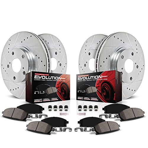 Power Stop K6075 Front and Rear Z23 Evolution Brake Kit with Drilled/Slotted Rotors and Ceramic Brake Pads