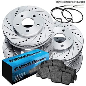 Fit 2007-2010 BMW X5 Front Rear Sport Drill Slot Brake Rotors+Ceramic Brake Pads