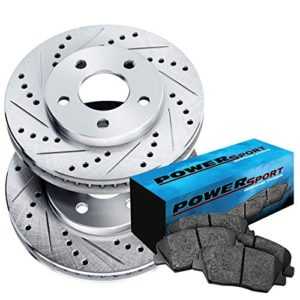 Front Cross-Drilled Slotted Brake Rotors Disc and Ceramic Pads Equator,Frontier