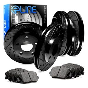 For 2000-2004 Audi A4 Front Rear Black Drill Slot Brake Rotors+Ceramic Pads
