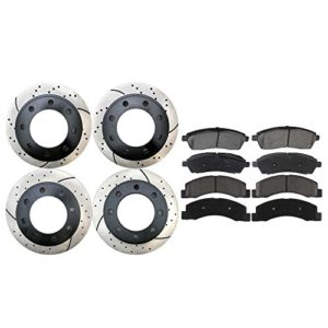 Set of 4 Drilled & Slotted Brake Rotors & 8 Ceramic Brake Pads