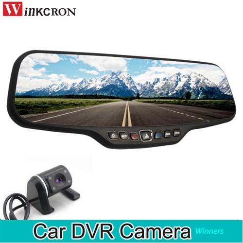 """DVR Dash Camera 4.3"""" Rearview Mirror Dual Lens Full HD"""