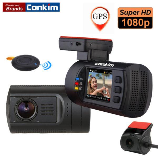 Dual Lens Car Dash Camera GPS DVR Front 1080P FHD+Rear Camera