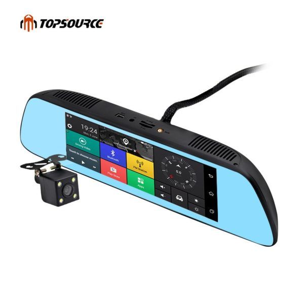 "TOPSOURCE New 7"" Special 3G CAR Mirror Rearview Car DVR Camera"