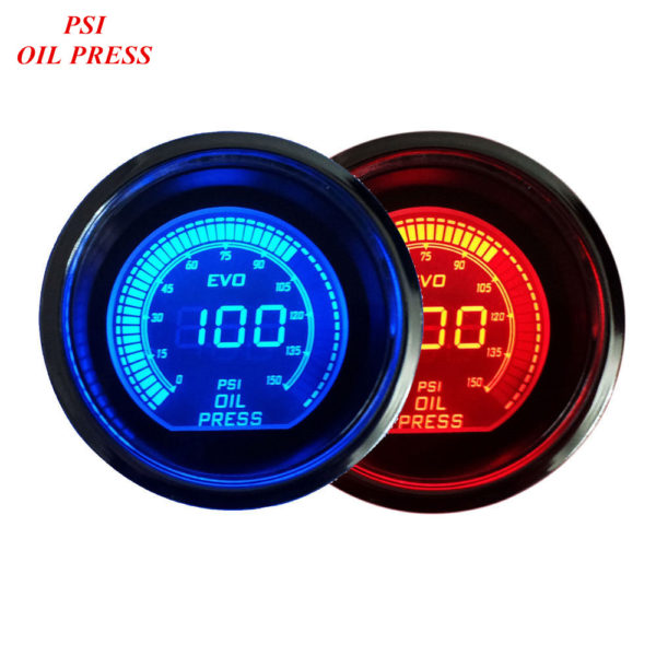 lue Red LED Light Oil Press Gauge Car Pressure Meter