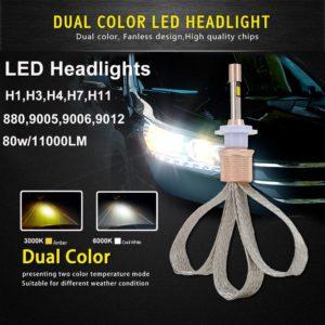 Led Light Dual Color 3000k 6000k 880/9005/9006/9012/H1/H3/H4/H7/H11
