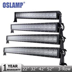 "Oslamp 3-Row 14"" 22"" 32"" 50"" Curved LED Light Bar Offroad Spot"