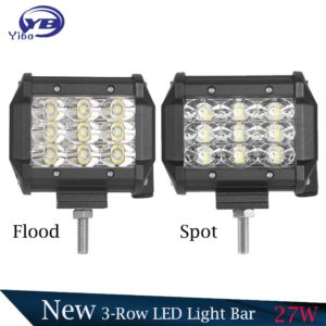 "2 PCS 4""27W 3-Row Flood Spot Faisceau Led Light Bar"