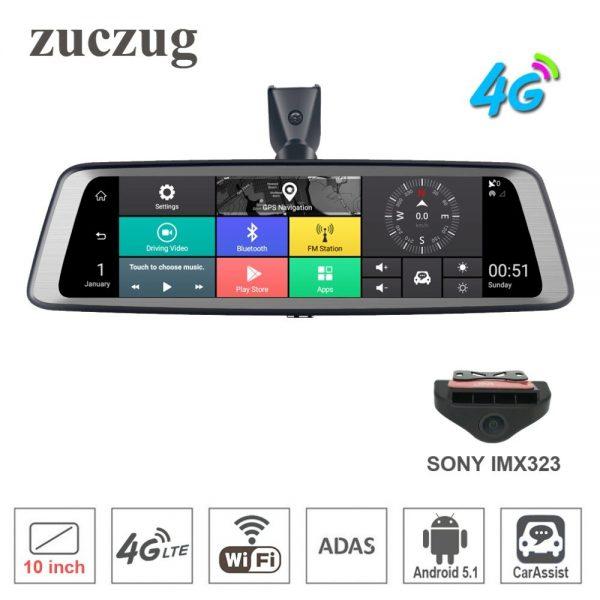 "zuczug 10"" Full Touch IPS 4G Car DVR Camera Android rear view mirror Dash Cam GPS navigation Bluetooth WIFI ADAS Remote monitor"