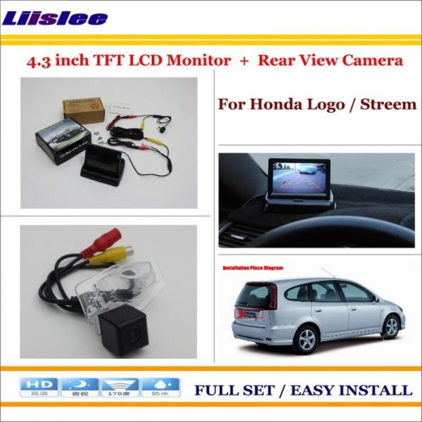 """Liislee For Honda Logo / Stream Auto Back UP Reverse Camera + 4.3"""" Color LCD Monitor = 2 in 1 Rearview Parking System"""