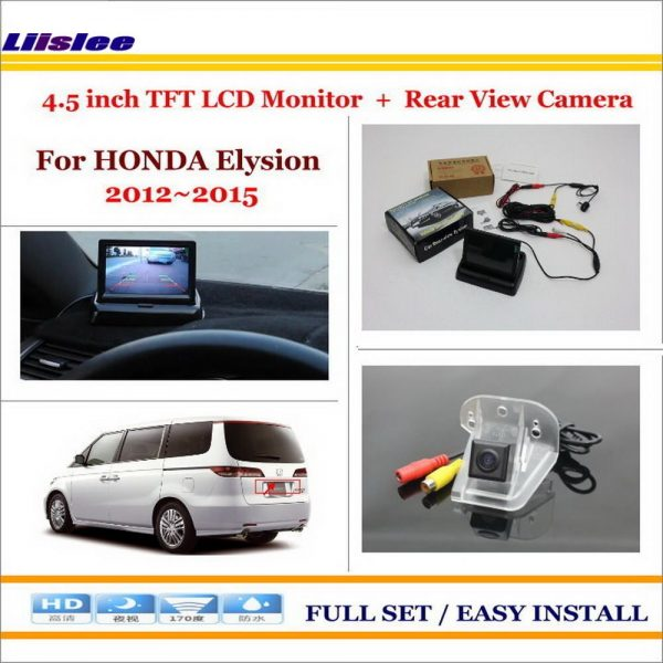 "Liislee For Honda Elysion 2012~2015 In Car 4.3"" Color LCD Monitor + Car Rear Back Up Camera = 2 in 1 Park Parking System"