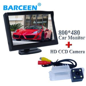 "Original +4 led +glass 170 degree lens+5"" wide lcd screen car rear view camera with screen monitor for Volkswagen GOLF 6/Magotan"