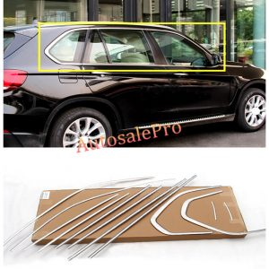 BMW X5 F15 Window Frame Sill Top+Bottom Moulding Trims Bright