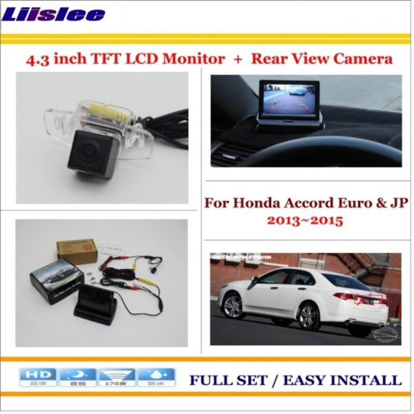 """Liislee For Honda Accord Euro & JP 2013~2015 Auto Rear View Camera Back Up + 4.3"""" LCD Monitor = 2 in 1 Parking Assistance System"""