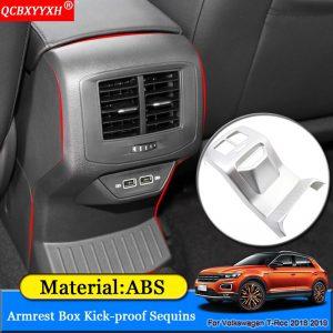 Car Styling ABS Decoration Car Armrest Box Kick-proof Sequins Sticker Car Decoration Accessories For Volkswagen T-Roc 2018 2019