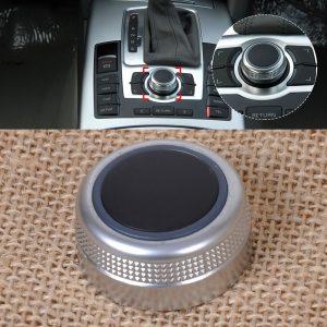 DWCX 1Pc Silver Chrome Multimedia MMI Main Menu Control Rotary Switch Knob Cap Cover for Audi A6 A8 S6 S8 Q7 RS6 4F0919069