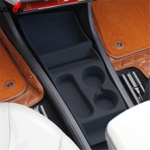 Rubber Interior Central Center Console Armrest Panel Box Container Storage Organizer For Tesla Model S Model X 2016 2017 2018