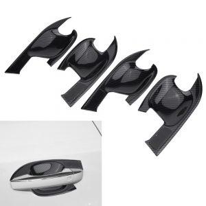 4Pcs Door Bowl Cover Trim Carbon Fiber Car Exterior ABS Plastic Interior Handle Bowl Frame Cover Trim for Audi Q5 (FY) 2018