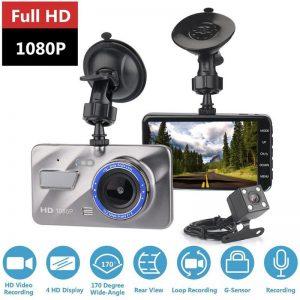 HD 4 Inch Dual Lens Image 1080P Hidden Wide Angle Driving Recorder Dash Cam Dual Lens Car DVR Camera Support Reversing