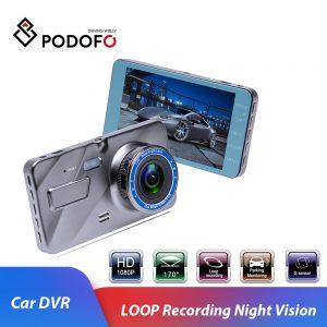 """Podofo Car DVR Auto Camera Dashcam 4""""IPS Dual Lens Cars Dvrs FHD 1080P Video Registrator Recorder G-sensor Night Vision Dash Cam"""