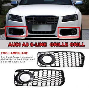 Fog Light Cover Honeycomb Hex Grille For Audi A5 S-Line / S5 B8 RS5 2008-2012 High Quality ABS Plastic Honeycomb Hex Grill Black