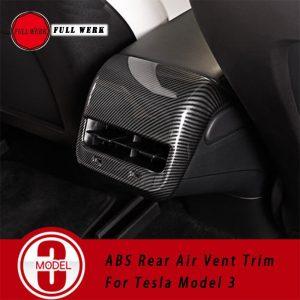 1pc ABS Car Rear Armrest Air Vent Trim Frame Cover Sticker Decoration for Tesla Model 3 Interior Accessories