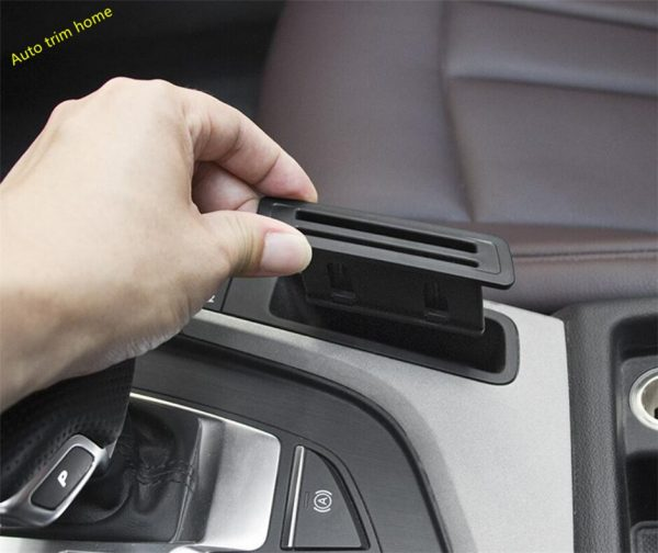 Lapetus Center Control Card Storage Bank Card Cover Fit For Audi A4 B9 A5 Sedan Avant Allroad Quattro 2016 - 2019 Auto Accessory