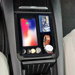 Wireless Charger Portable Organizer Armrest Storage Box Car Container Large Center Console Neatly ABS For Tesla Model X S