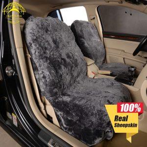 OKAYDA seat cover car fur real sheepskin soft warm 1pc universal accessories interior cushion sheepskin bucket Free shipping