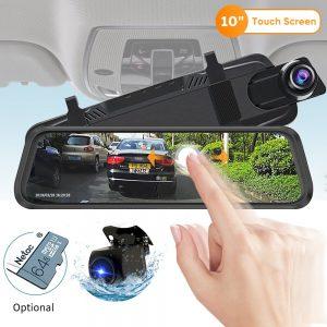 Deelife 10'' Car DVR Mirror Camera Stream Media Rearview Mirror Dash Cam Full HD 1080P Dual Cameras Auto Video Recorder