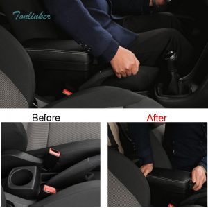 Tonlinker Cover case stickers For VW Volkswagen Polo 2011-17 Car Styling 1 Pcs ABS Plastic Center Handbrake Modified Armrest