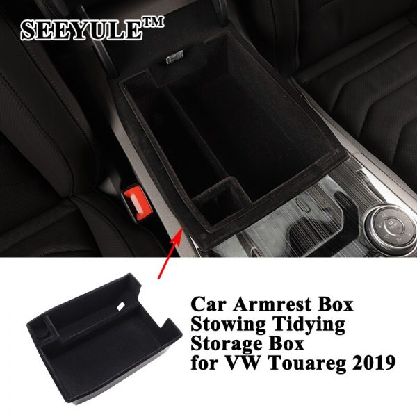 1pc SEEYULE Car Center Armrest Box Stowing Tidying Storage Box Organizer Container Accessories for VW Volkswagen Touareg 2019