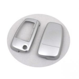 Hard Plastic Keyless Remote Key Protection Case Cover (Gloss Silver) For Audi