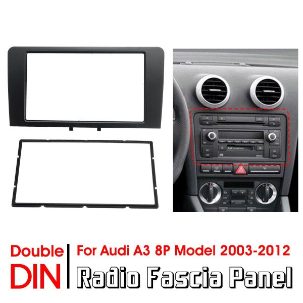 Double Din Car Radio Fascia Panel Adapter Frame Stereo Plate Cover Trim For Audi A3 8P Model 2003-2012