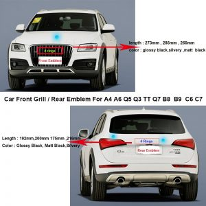 Car Rear Boot Emblem Auto Tail Trunk Logo Front Grill Label hood bonnet Badge For A4 A6 Q5 Q3 TT Q7 B8 B9 C6 C7