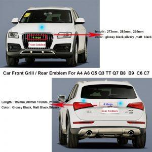 Car Rear Boot Emblem Auto Tail Trunk Logo Front Grill Label hood bonnet Badge For A4 A6 Q5 Q3 TT Q7 B8 B9 C6 C7