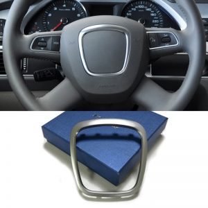 Chrome steering wheel trim frame emblem badge cover center logo ring sticker accessories for Audi A3 A4 B6 B7 B8 A5 A6 C6 Q7 Q5