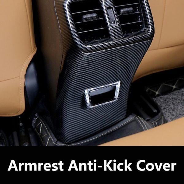 QHCP ABS Car Rear Armrest Box Frame Cover Trim Anti-kick Panel Sticker Carbon Fiber Style Black Silver For Lexus UX200 260H 2019