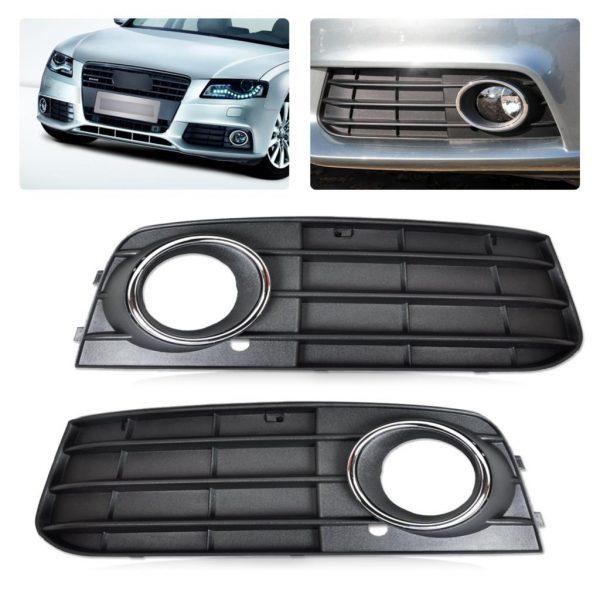 DWCX 2pc Kit Black Right Left Fog Light Lamp Cover Grille for Audi A4 B8 2008 2009 2010 2011 2012 8K0807681A 01C 8K0807682A 01C