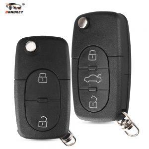 Dandkey Flip 2 3 Buttons Folding Remote Key Shell Case Fob For Audi TT A2 A3 A4 A6 A8 Quattr HU66 Blade CR1620 CR2032 Holder