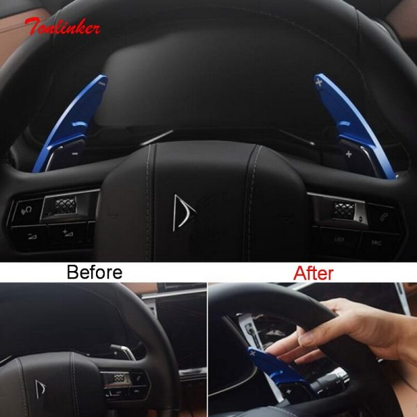 Tonlinker 2 PCS Car Steering wheel shift paddle Cover sticker for CITROEN DEESSE DS7 2018-19 Car Styling Aluminum Cover Stickers