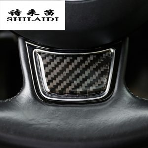 Car Styling Carbon Fiber Steering Wheel Cover Stickers sport style For AUDI A4 B8 B9 A3 A5 A6 C7 A7 Q5 Interior Auto Accessories