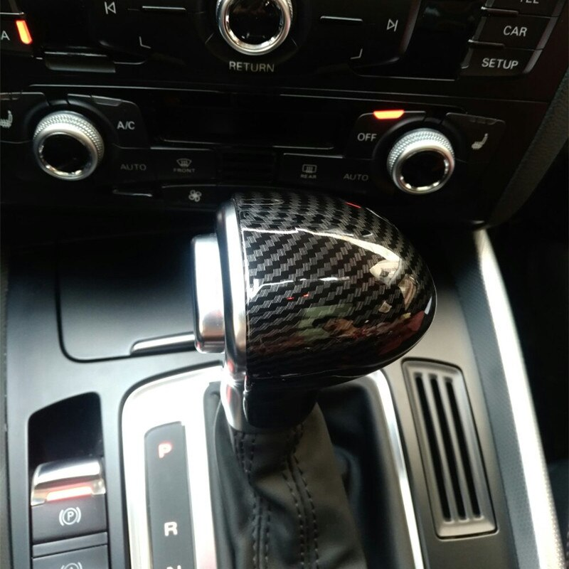 Gearshift Handle Head Fiber Sticker For Audi A4 B8 B9 A5