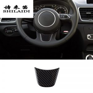 Car Styling Carbon Fiber Steering Wheel Covers Stickers sport For AUDI A4 B8 B9 A3 A5 A6 C7 A7 W3 Q5 Interior Auto Accessories