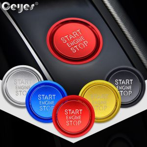 Ceyes Car Accessories Sticker For Audi B8 A6L A4 A5 A6 A7 Q3 Q7 Q5 8R C7 Auto Engine Start Stop Button Rings Cover Case Styling