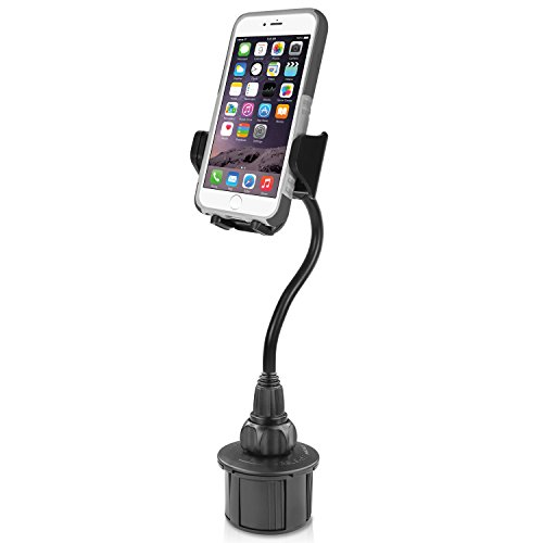 """Macally Car Cup Holder Phone Mount with A Flexible Extra Long 8"""" Neck for iPhone XS Max XR X 8 7 Plus 6 5S SE, Samsung S10 S10E S9 Plus S8, Motorola Moto, Google Pixel XL 3 (MCUP2XL)"""