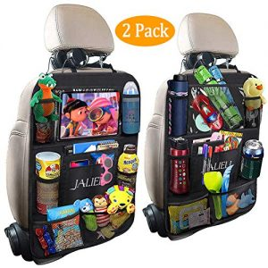 JALIELL Car Back Seat Organizer for Kids Car Organizer with 10' Touch Screen Tablet Holder + 9 Storage Pockets Car Back Seat Protector Car Travel Accessories for Toddlers Toys (2 Pack)