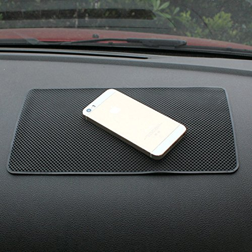 Tianmei 10.6in x 6.1in Extra Large Size Anti-Slip Rubber Pad, Car Dashboard Universal Non-Slip Mat use for Cell Phones, Sunglasses, Keys, Coins and More (Pure Black)